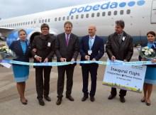 (von links nach rechts): Ulrich Stiller (Marketing-Leiter Köln Bonn Airport), Michael Garvens (Flughafenchef), Andrey Kalmykov (CEO von Pobeda Airlines) und Vladimir V. Sedykh (Generalkonsul der Russischen Föderation in Bonn). Foto honorarfrei (Quelle: Köln Bonn Airport)