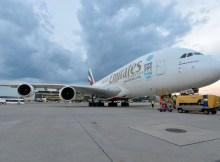 Airbus A380 der Emirates am Flughafen Wien (© Emirates)