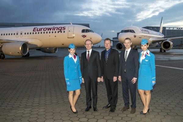 A320 Doppelauslieferung, Karl Ulrich Garnadt (Executive Board Member Eurowings and Aviation Services), Klaus Röwe (Airbus Programmleiter A320 Familie), Michael Knitter (Geschäftsführer Eurowings)