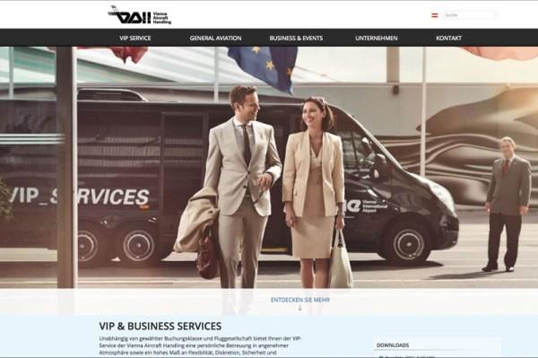 Website der Vienna Airport Handling