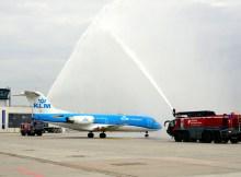 Begrüßung der KLM am Flughafen Dresden (© DRS Airport)