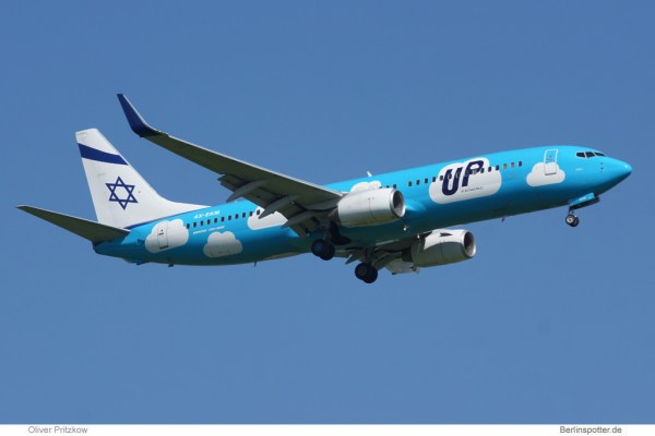 Boeing 737-800 der El-Al-Lowcostmarke UP (© O. Pritzkow)