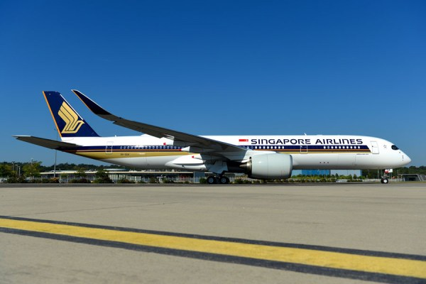 Airbus A350-900 ULR in den Farben der Singapore Airlines (Foto: H. Goussee)