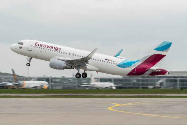 Start eines Airbus A320 der Eurowings vom Flughafen Leipzig-Halle (Foto: MDF AG)