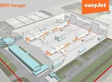 Geplanter Wartungshangar am Flughafen berlin Brandenburg BER (Grafik easyJet)