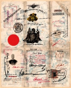 Saul STEINBERG, Passport, c. 1952, Tinte,Stempel et Collage auf Papier, 36,5 x 29 cm. Privatsammlung , Deutschland © The Saul Steinberg Foundation/ARS, ADAGP Paris 2009