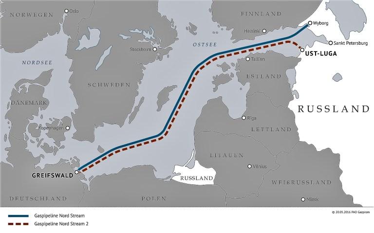 energie-Nord Stream 2-Russland-Landkarte-Ostsee-Trasse-Gas-Erdgas