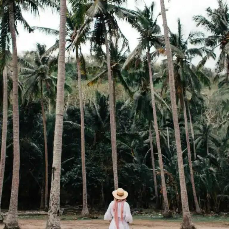 woman walking among palms in rainforest
