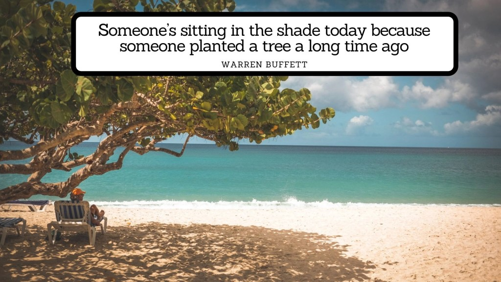 Investment quotes Someone's sitting in the shade today because someone planted a tree a long time ago - Warren Buffett