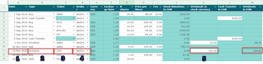 Add a dividend payment to the dividend portfolio tracker