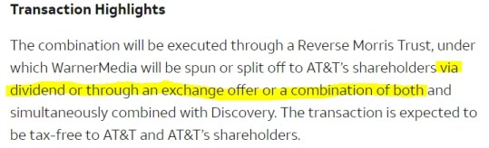 AT&T Time Warner spin-off transaction highlights