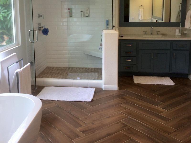 bathroom wood look floor tile and