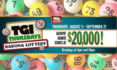 Barona Resort & Casino's TGI Thursdays Lottery Continues Through Thursday, September 27