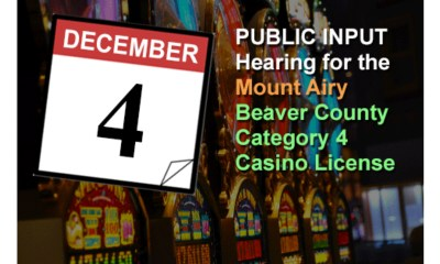 Pennsylvania Gaming Control Board to Hold Public Input Hearing in Big Beaver Borough on December 4th for Mount Airy's Category 4 Casino Application in Beaver County