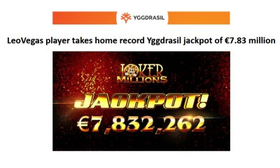 LeoVegas player takes home record Yggdrasil jackpot of €7.83 million