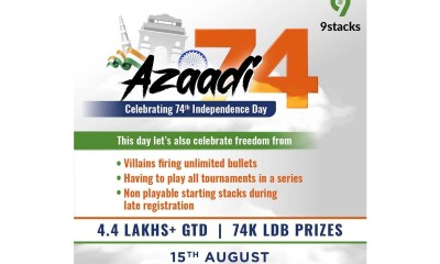 "9Stacks – India's leading Poker Platform will host ""AZAADI74 Series"" Tournament this Independence Day"