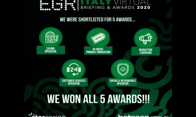 Betsson Group Wins Big at the EGR Italy Awards 2020