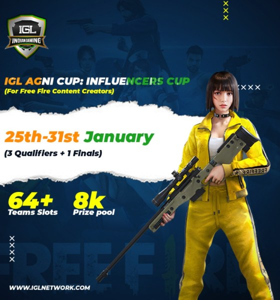 "Indian Gaming League (IGL) to host ""Influencers Rising Cup"" from 25th-31st January 2021"