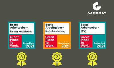 GAMOMAT lands hat-trick of Great Place to Work competition awards