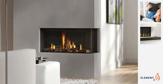 Flat Gas Fireplace Bidore 95 Element4 Corner Direct Vent Gas Fireplace