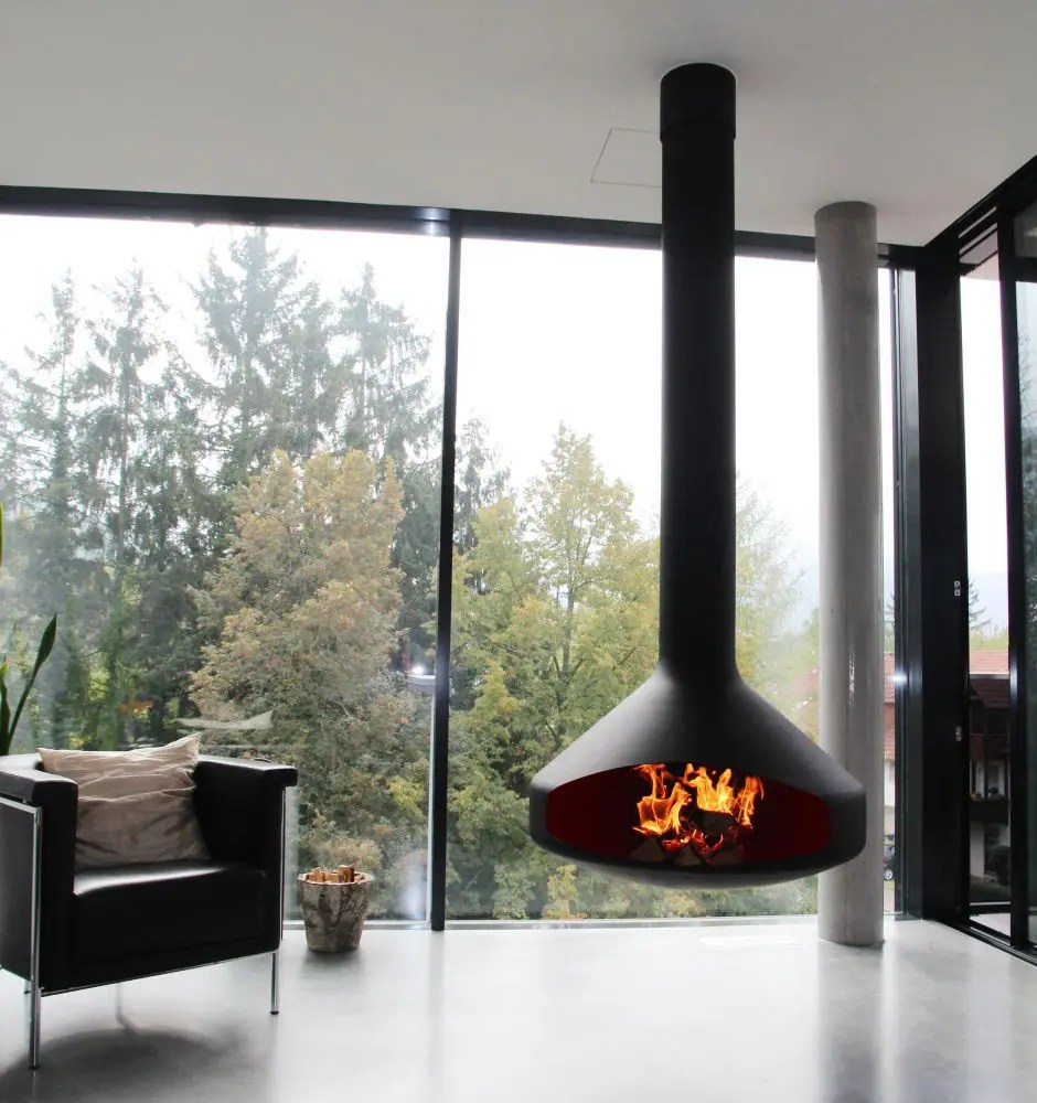 Flat Gas Fireplace Ergofocus By Focus Fires | Suspended, Open-faced Fireplace