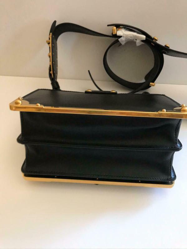 Prada 1bd045 cahier leather shoulder bag black