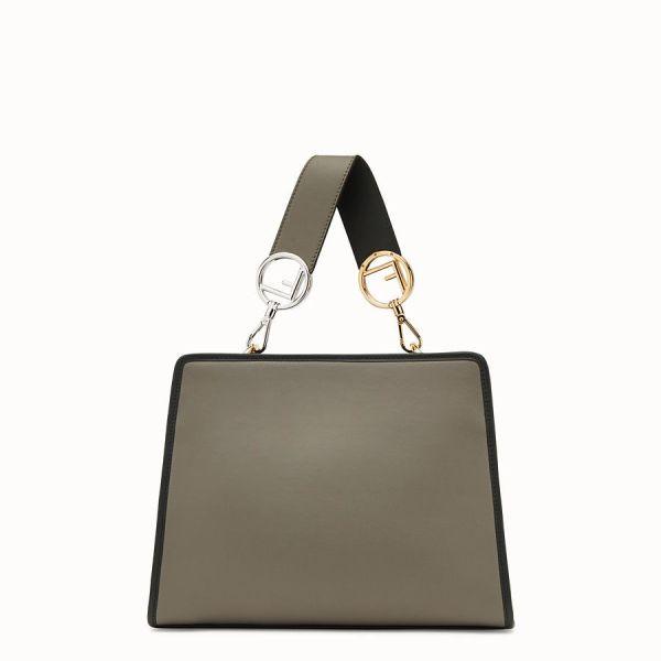Fendi 8bh344 small runway leather tote bag grey