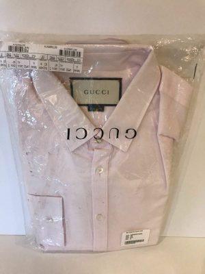 Gucci 428830 bees jacquard oxford long sleeve shirt pale pink