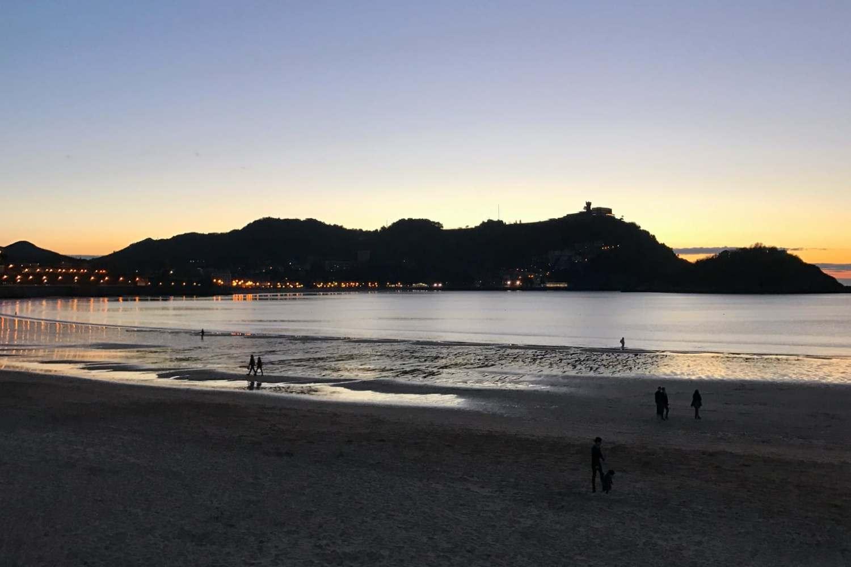 Sunset behind Mount Igeldo in San Sebastián