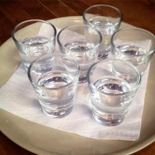 Vodka shots.