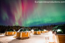 Arctic Glass Igloos And Northern Lights In