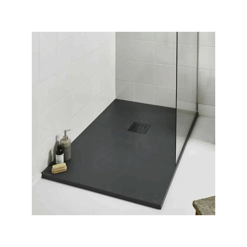 1400 x 800  Rectangle Shower Enclosure Tray GRAPHITE Slate Effect Stone Resin