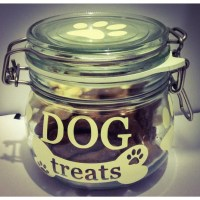 Dog treat jar including treats small