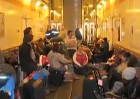 Eurostar passengers stranded in the emergency car shuttle train