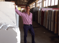 Nick Selecting Slabs at Factory in Greece