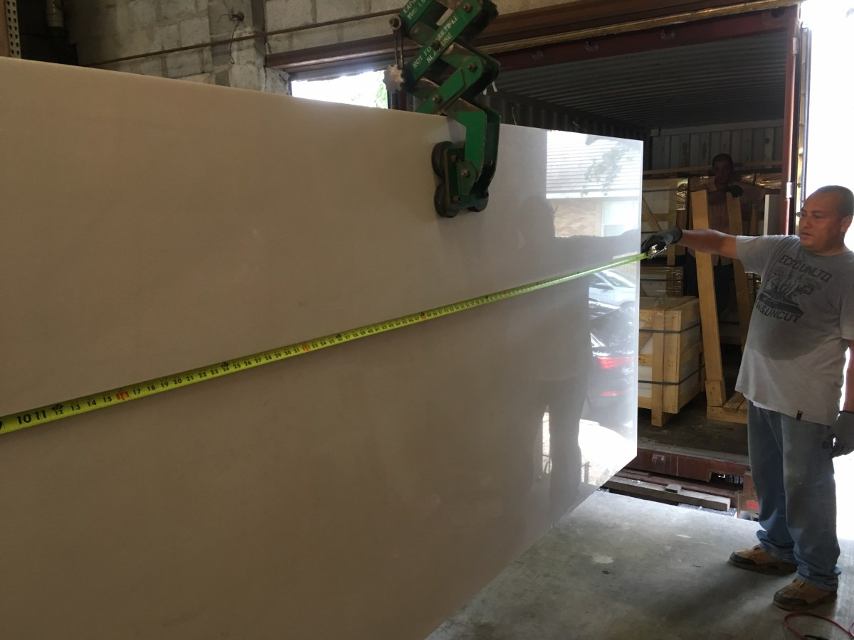 Thassos White natural Greek marble large slab Eurostone Houston quality control