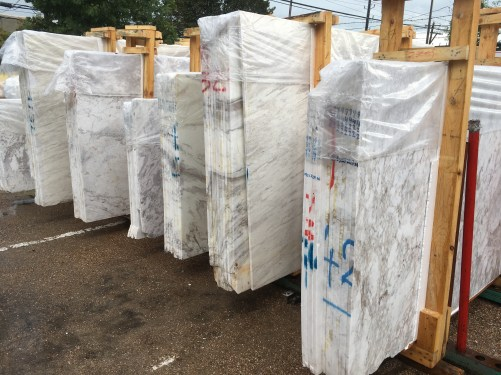 Natural marble large slabs olympus white semi-white gray veins Eurostone Houston