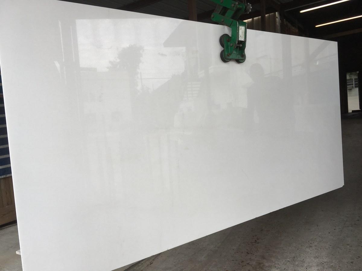 large polished Thassos white natural Greek marble slab Eurostone Houston