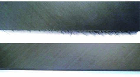 Top: typical delamination on an edge of the manufactured part in unidirectional CFRP. Below: part in unidirectional CFRP machined with the new Gühring CFRP milling Cutter. Picture Gühring.