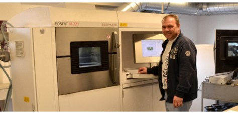 "Ecoparts is the only company of its kind in Switzerland,"" says Mr. Kündig its director. Working with two eos int M 270 ma - chines produced by eos (recently represented in s witzer - land by s pringmann) this small structure is specialized in the manufacture of complex metal parts by laser sintering."