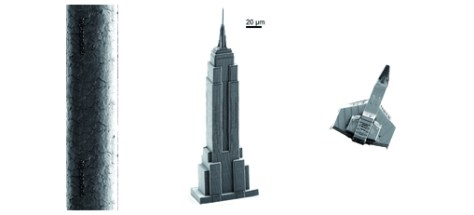 From left to right: human hair, Nanoscribe  Empire State Building printed with a Photonic Professional GT system by means of the DiLLMethod and Miniature-spacecraft printed with a Photonic Professional GT system in less than one minute.