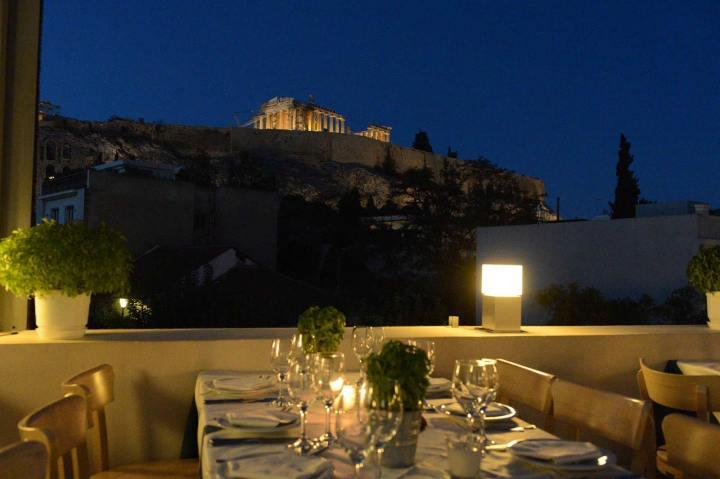 Restaurante Strofi con vistas al Partenón