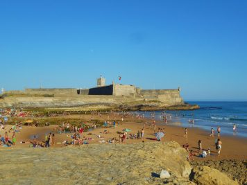 Carcavelos beach with Fort of São Julião da Barra