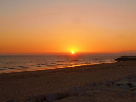 Perfect sunset on Costa da Caparica Portugal