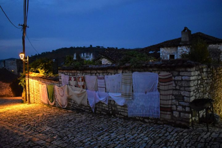 Atmosphere of the Berat castle by night