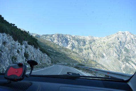 Impressive mountains Maja e Çikës over Llogara Pass