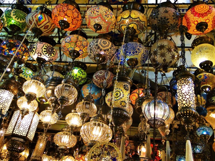 Typical Turkish mosaic lamps