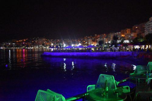 Is Albania safe? Bars in Saranda, Albania, by night
