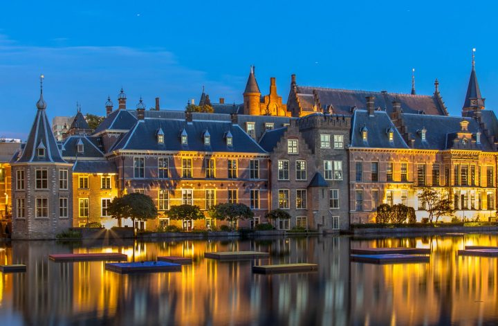 Dutch parliament building Binnenhof in The Hague