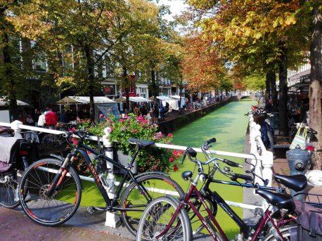 Mercadillo a lo largo de los canales de Delft.